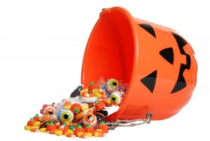 Bucket of Halloween candy.